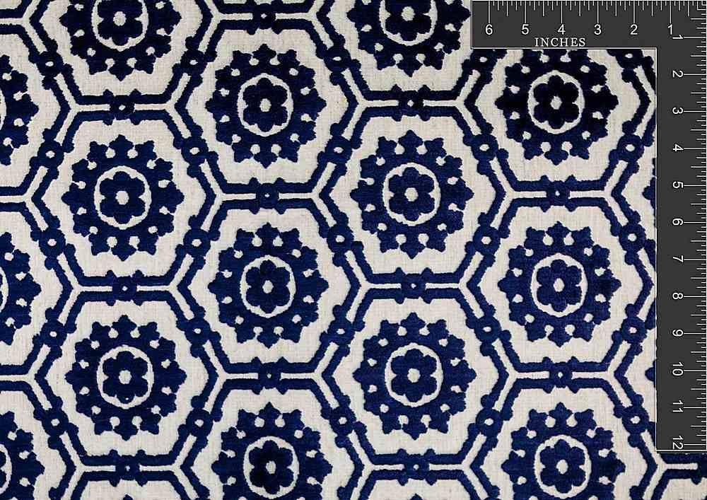 "VJ1008 / MIDNIGHT BLUE / ""Floral Beehive"" Vlvt Jacq 55%PolyLinen45%Viscose"