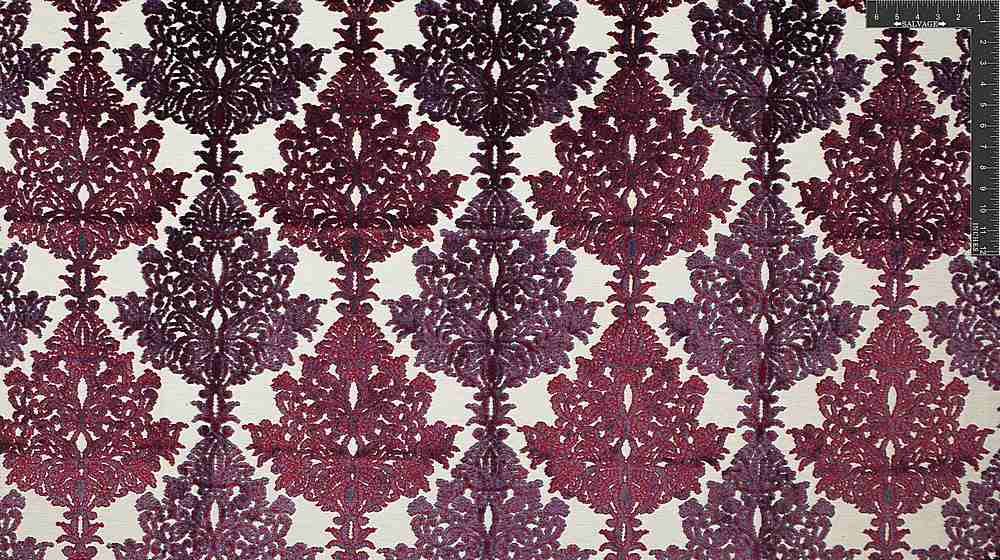 "VJ1011 / RUBY COAL / ""ETHNIC DAMASK"" POLY VISCOSE VELVET JACQUARD"