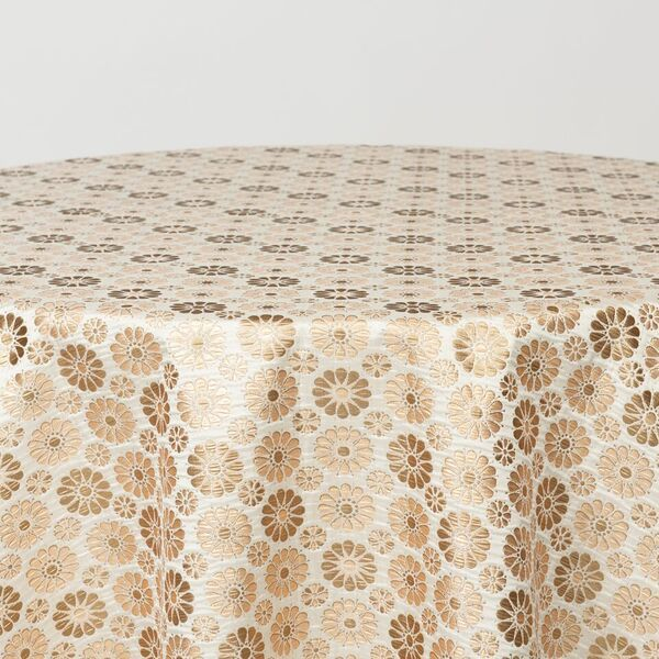 """M1105 / IVORY / """"DAISIES"""" 100% POLYESTER WOVEN JACQUARD"""
