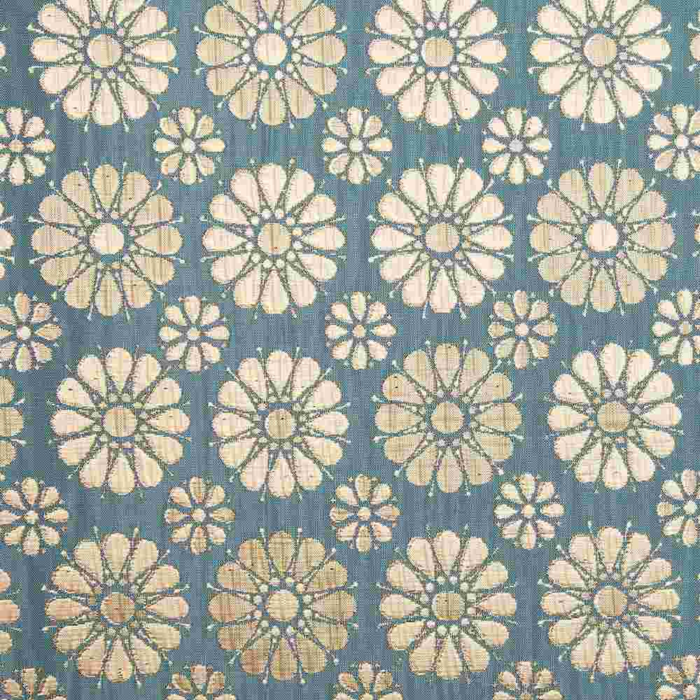 "M1105 / AQUAMARINE / ""DAISIES"" 100% POLYESTER WOVEN JACQUARD"