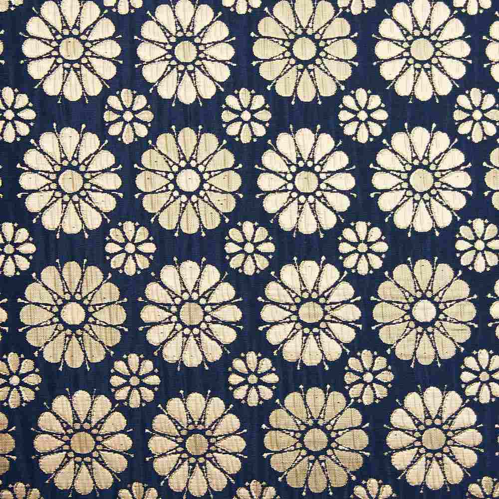 """M1105 / NAVY / """"DAISIES"""" 100% POLYESTER WOVEN JACQUARD"""