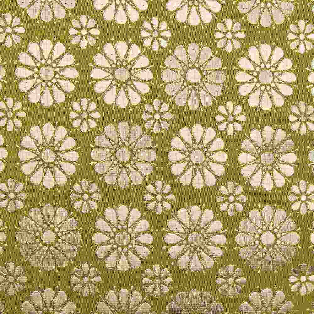 """M1105 / OLIVE / """"DAISIES"""" 100% POLYESTER WOVEN JACQUARD"""