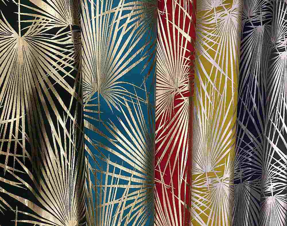 """M1117 / 14""""X28"""" HANGER / """"PALMS"""" 100% POLYESTER AND LUREX WOVEN JACQUARD"""