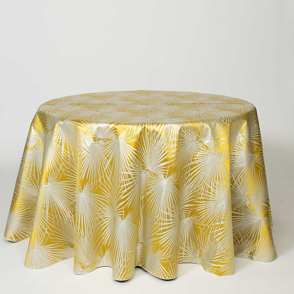 "M1117 / CANARY / ""PALMS"" 100% POLYESTER AND LUREX WOVEN JACQUARD"