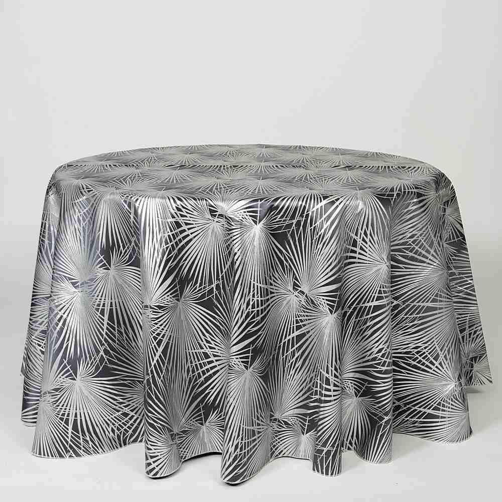 "M1117 / GRAY / ""PALMS"" 100% POLYESTER AND LUREX WOVEN JACQUARD"