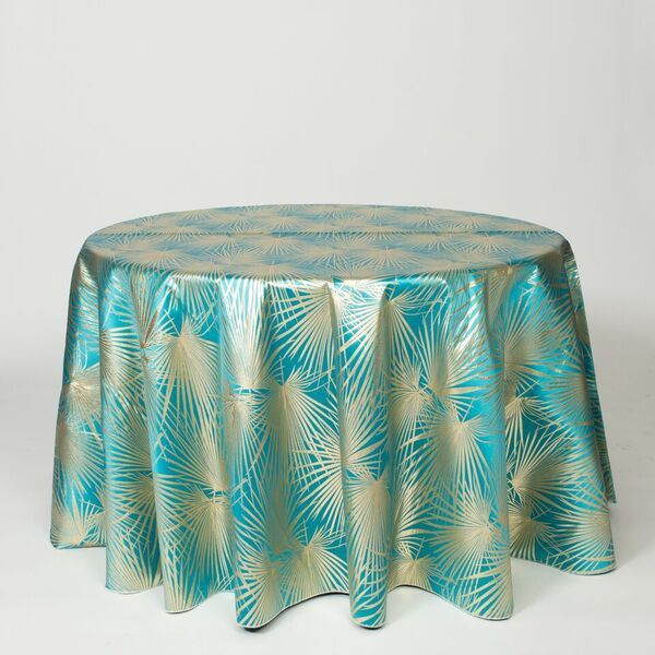 "M1117 / TURQ / ""PALMS"" 100% POLYESTER AND LUREX WOVEN JACQUARD"