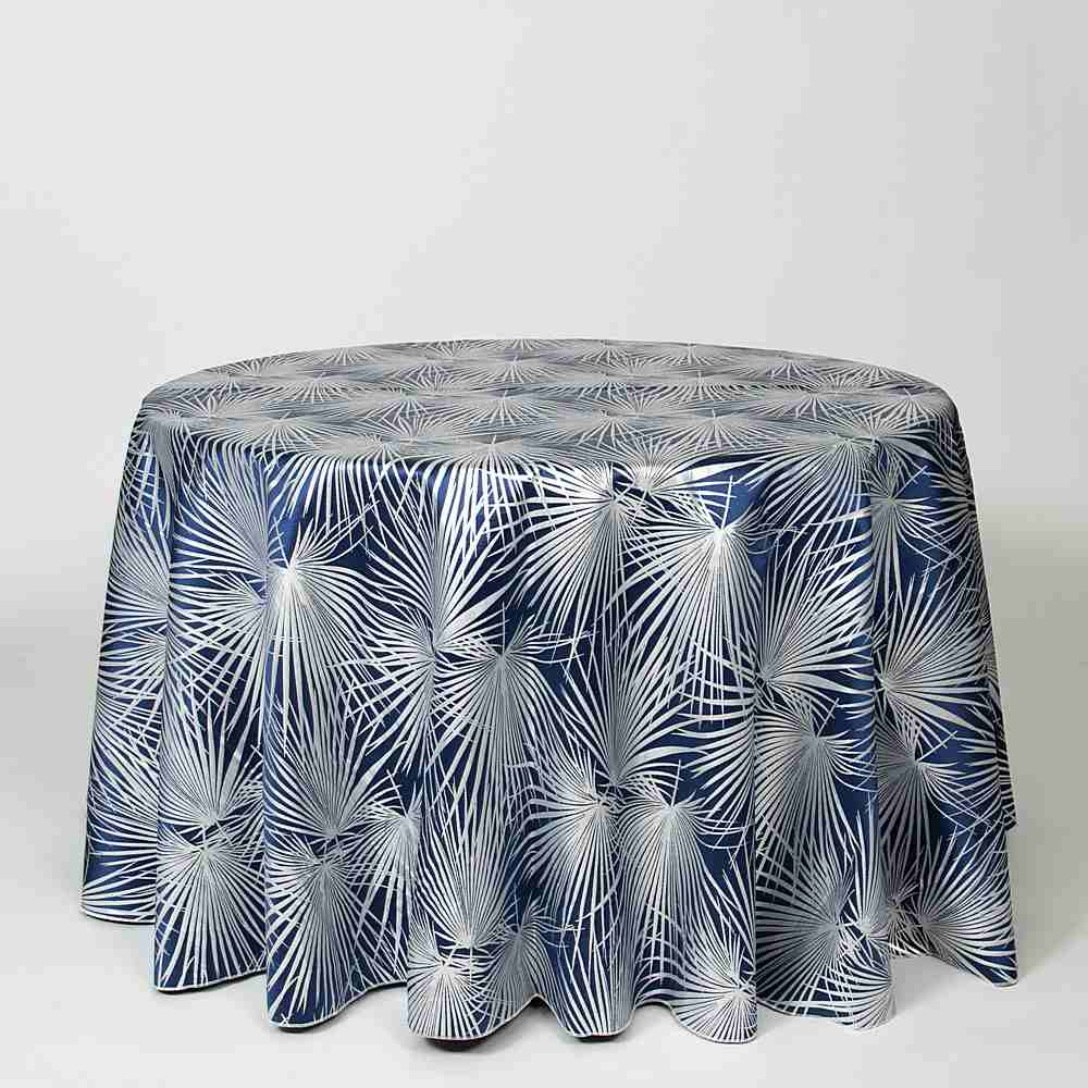 "M1117 / NAVY / ""PALMS"" 100% POLYESTER AND LUREX WOVEN JACQUARD"