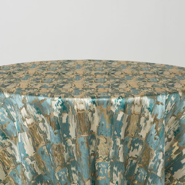 "M1121 / TURQUOISE / ""BRICKS"" 100% POLYESTER AND LUREX WOVEN JACQUARD"