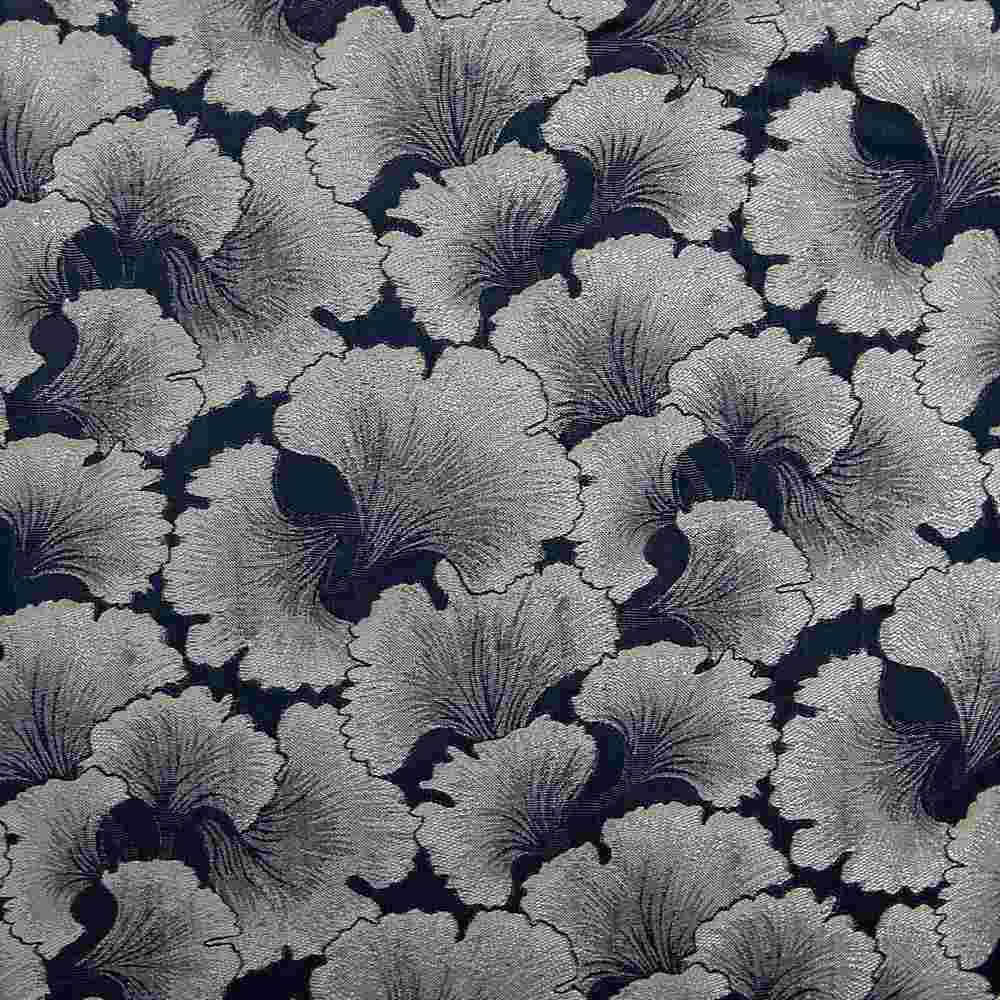 "M1126 / NAVY / ""CARNATION"" 100% POLYESTER AND LUREX WOVEN JACQUARD"