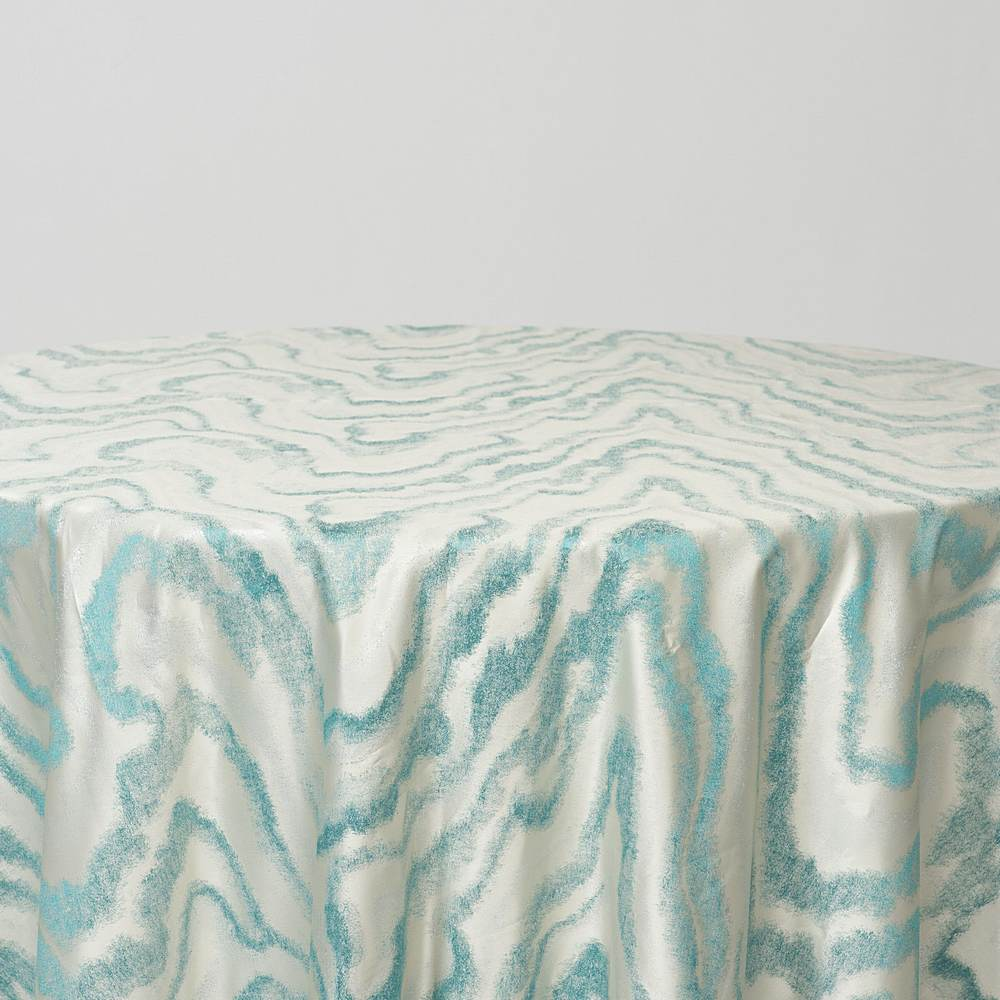 "M1127 / TURQUOISE / ""WAVES"" 100% POLYESTER AND LUREX WOVEN JACQUARD"