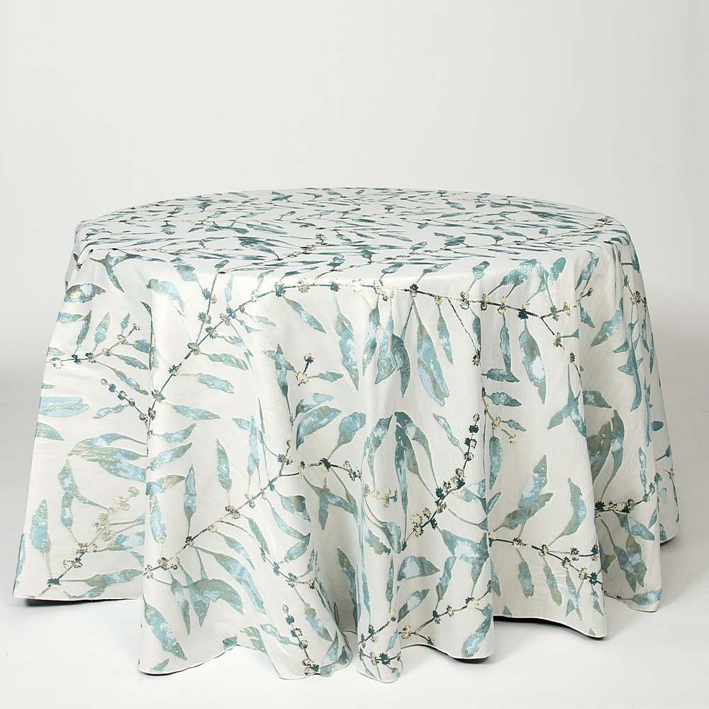 "M1128 / AQUA / ""BRANCHES"" 100% POLYESTER AND LUREX WOVEN JACQUARD"