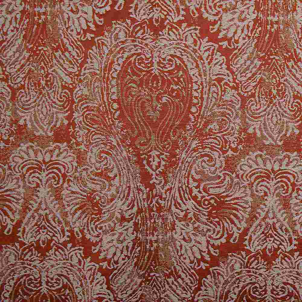 "M1135 / TANGERINE / ""CHIC"" 100% POLYESTER AND LUREX WOVEN JACQUARD"