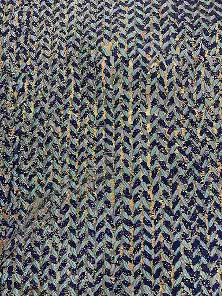 "M1157 / NAVY / ""FESTIVE"" 100% POLYESTER AND LUREX WOVEN JACQUARD"